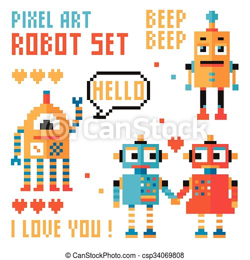 Set of pixel robots, words, hearts. - csp34069808