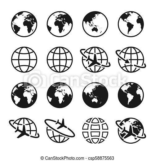 Set of planet Earth icons  Globe sign  Air travel, transportation and  delivery concept