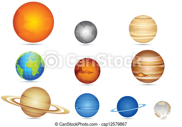 illustration of set of planets with sun and moon clip art vector rh canstockphoto com planets clipart png plants clip art free