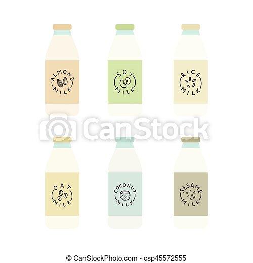 Set of plant based milk bottles. - csp45572555