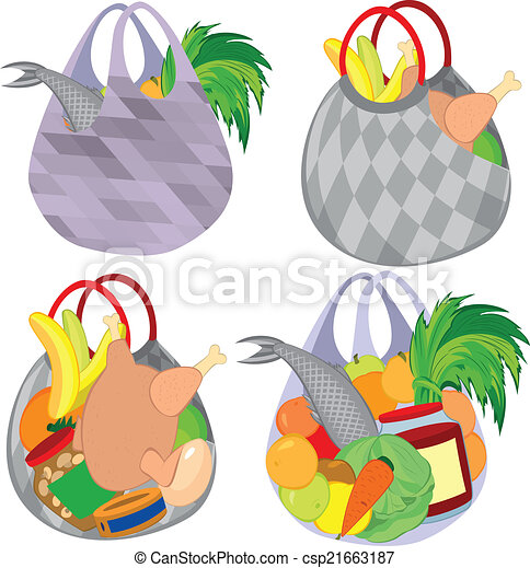 illustration of cartoon shopping bags full of groceries vector rh canstockphoto com  paper grocery bag clipart