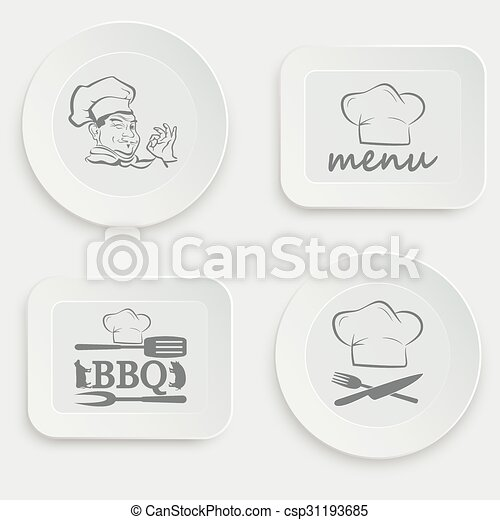 set of plates on a white background - csp31193685