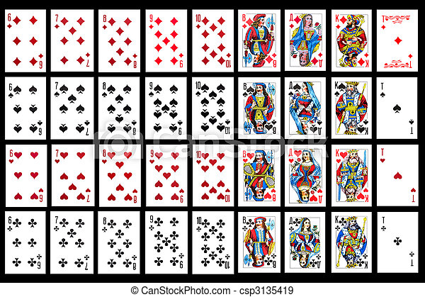 Set Of Playing Card Close Up Object On Balck Playing