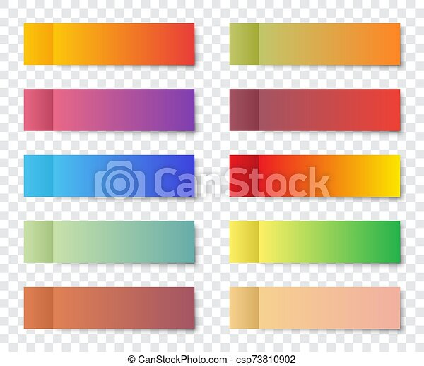 Set of post note stickers with shadow on a transparent background - csp73810902