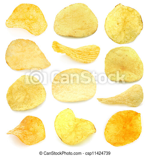 Set of potato chips close-up - csp11424739