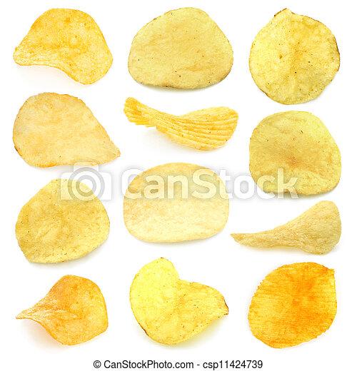 Set of potato chips close-up - csp11424739