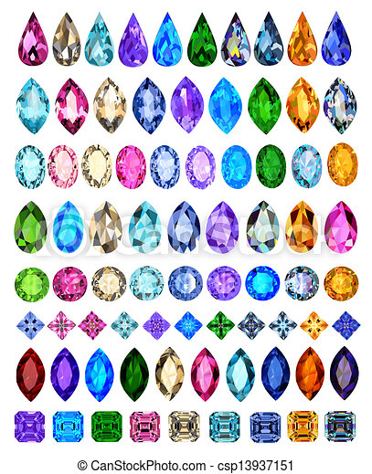 set of precious stones of different cuts and colors - csp13937151