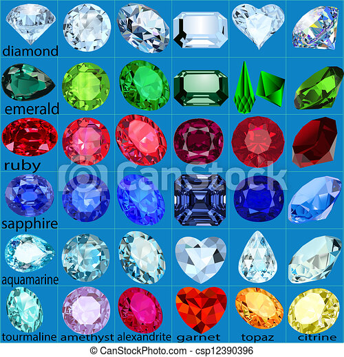set of precious stones of different cuts and colors - csp12390396