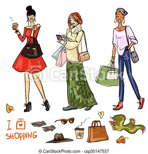 Set of pretty fashionable women  - csp30147537