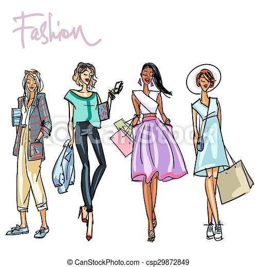 Set of pretty stylish women - csp29872849