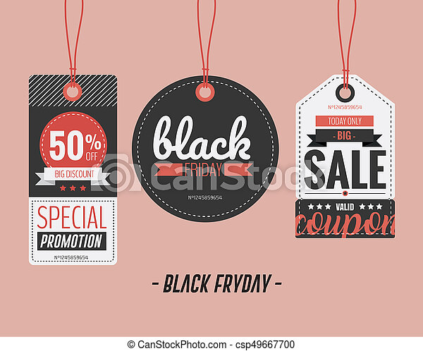 Set of price tags for Black Friday. Vector illustration - csp49667700