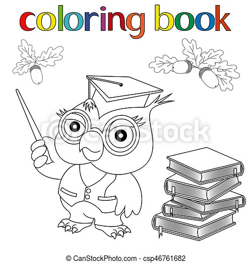 Set of Professor Owl, books and acorns for coloring book - csp46761682