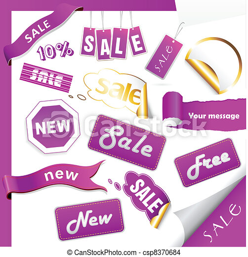Set of purple sale tags. - csp8370684