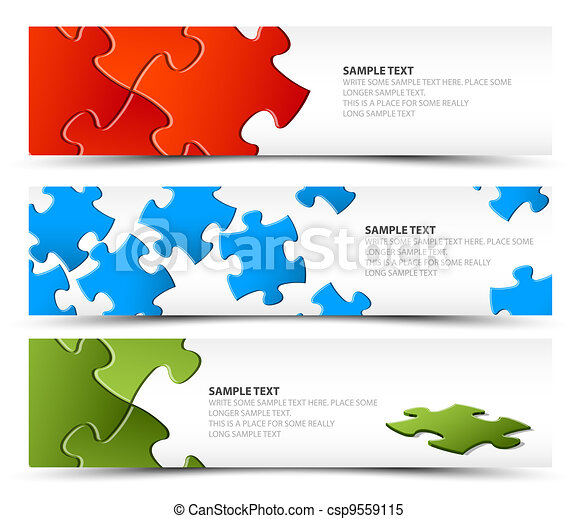 Set of puzzle horizontal banners - csp9559115