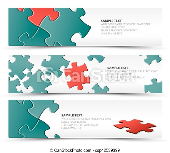 Set of puzzle horizontal banners - csp42539399