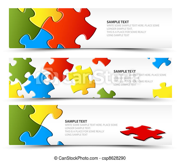 Set of puzzle horizontal banners - csp8628290