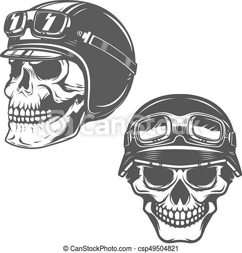 Set of racer skulls isolated on white background. Design element - csp49504821