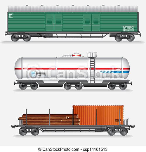 Set Of Rail Freight Car Train Waggons