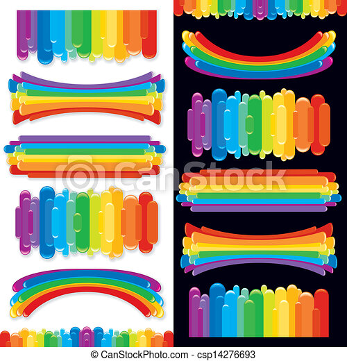 Set of Rainbow Design Elements. Vector Collection - csp14276693