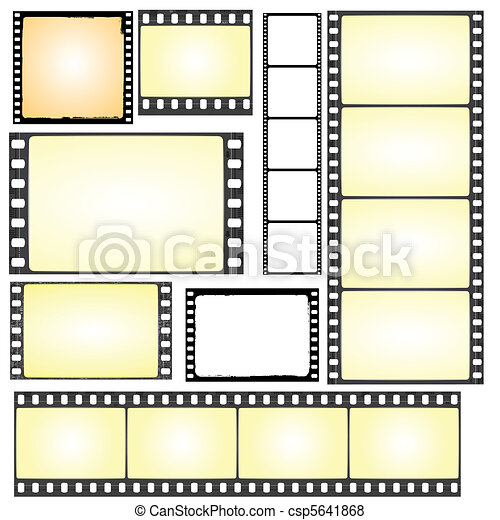 set of real and grunge film frames - csp5641868