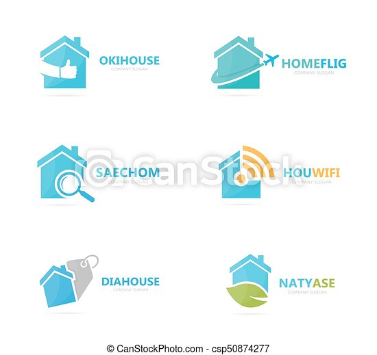 Set of real estate logo combination. House and building symbol or icon. Unique rent and architecture logotype design template. - csp50874277