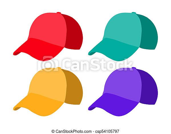 set of realistic baseball cap templates colorful hat illustration