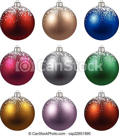 Colorful Christmas Balls.Set Of Realistic Christmas Balls