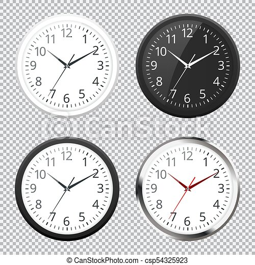 Set of Realistic classic black, white and silver round wall clock icon  isolated on transparent background