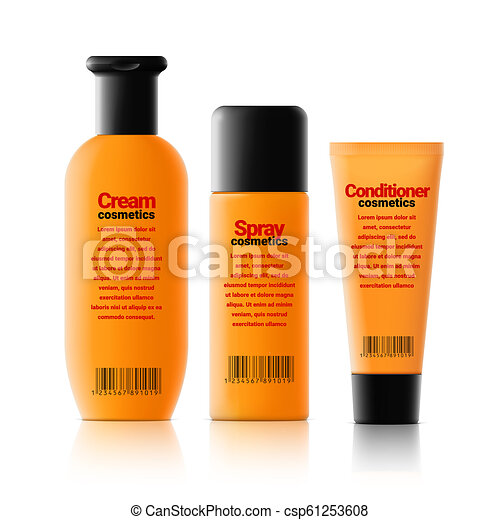 Set Of Realistic Cosmetic Orange Bottle With Black Lid