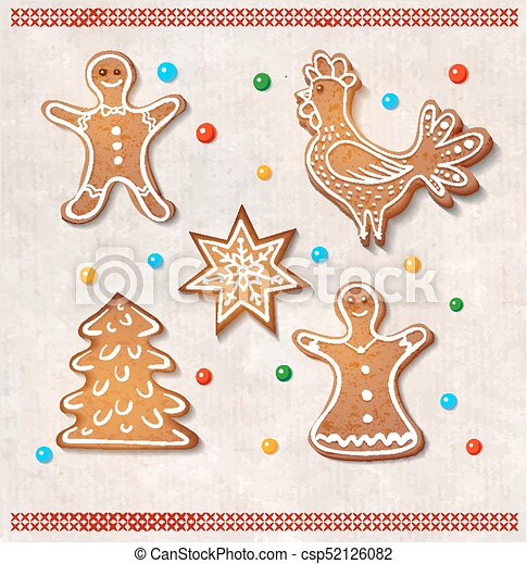 Set Of Realistic Gingerbread Cookies Rooster Star Christmas Tree Man And Woman