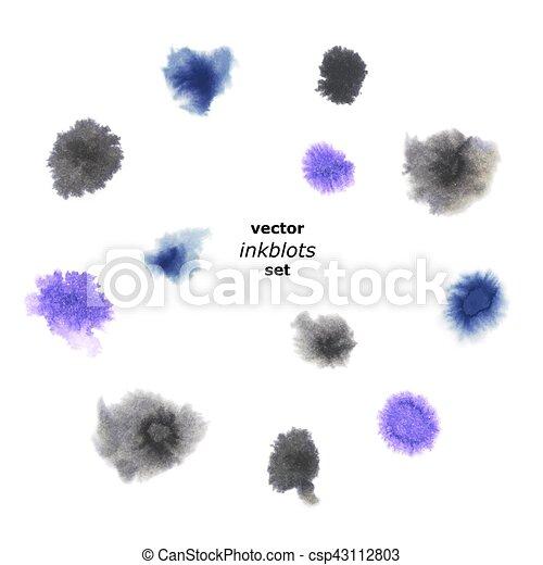 Set of Realistic Hand-Drawn Ink Blots. - csp43112803