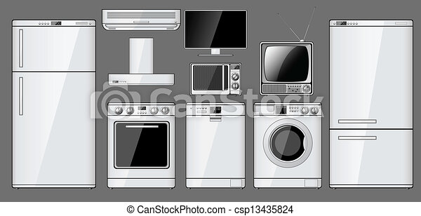 Set of realistic household appliances - csp13435824