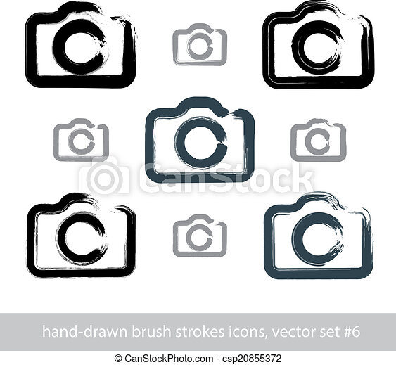 Set Of Realistic Ink Hand Drawn Stroke Vector Digital Camera Ico