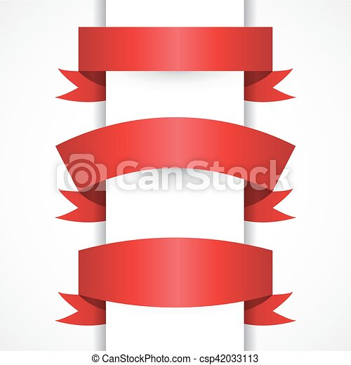 set of realistic red vector ribbons for your design project rh canstockphoto com victor ribbons little league victor ribbons little league