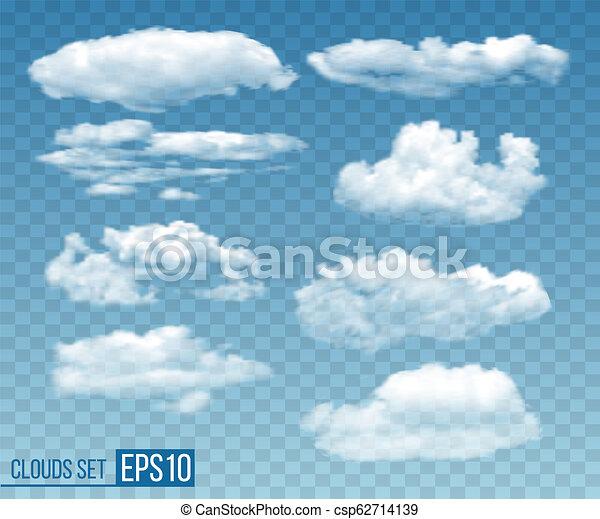 Set of realistic transparent cloudsin blue sky - csp62714139