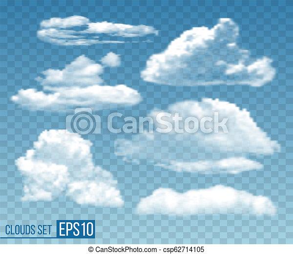 Set of realistic transparent cloudsin blue sky - csp62714105