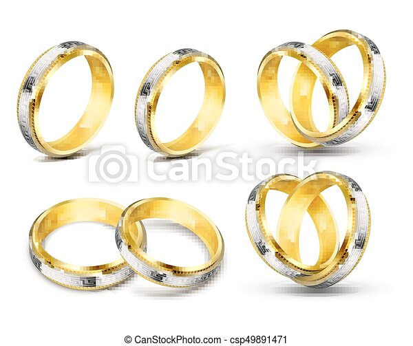 Set Of Realistic Vector Illustrations Of Gold Wedding Rings With