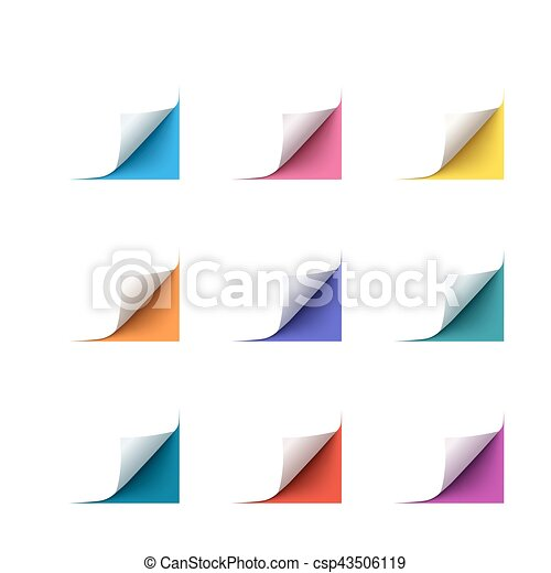 Set of realistic vector paper corners on white background - csp43506119