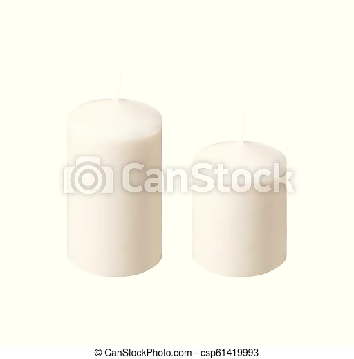 Set of realistic vector white candles on white background. Cylindrical aromatic candle sticks. - csp61419993