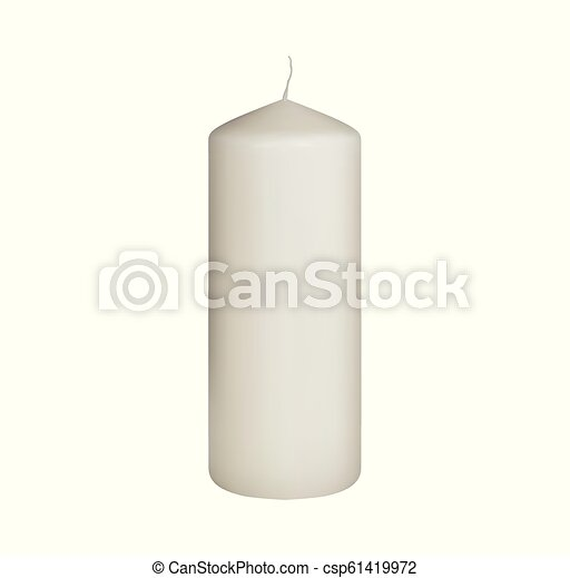 Set of realistic vector white candles on white background. Cylindrical aromatic candle sticks. - csp61419972