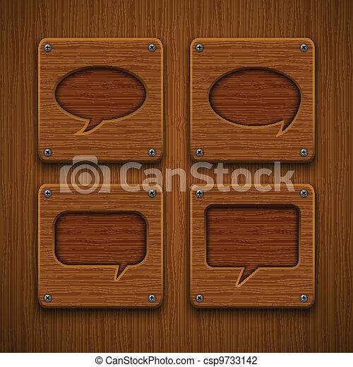 Set of realistic wooden speech bubbles. Vector illustration.  - csp9733142