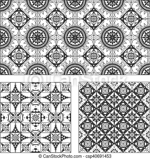 Set of rectangle and square form ornamental patterns - csp40691453