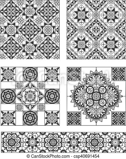 Set of rectangle and square form ornamental patterns - csp40691454
