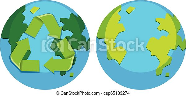 Set of recycle earth logo - csp65133274