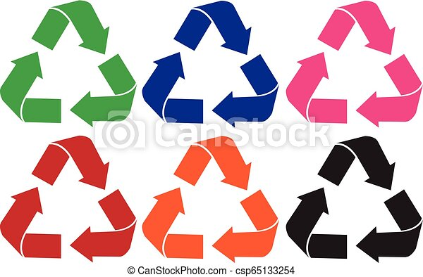 Set of recycle logo different color - csp65133254