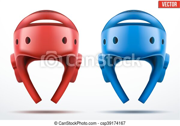Set Of Red And Blue Taekwondo Helmets Front View Sport Equipment Editable Vector Illustration Isolated On White Background