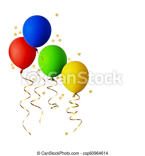 Set of red, blue, green and yellow balloons with gold ribbons - csp60964614