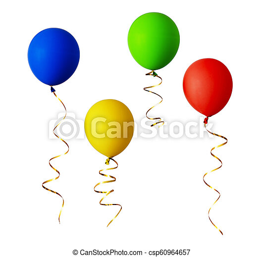 Set of red, blue, green and yellow balloons with gold ribbons - csp60964657