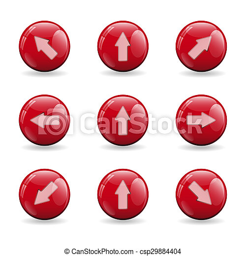 Set of red buttons with various arrows - csp29884404