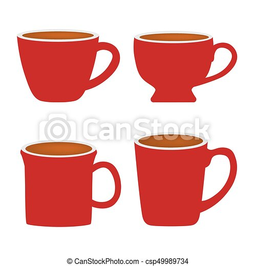 set of red coffee cups vector illustration